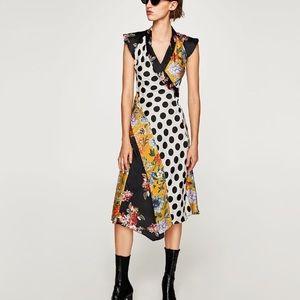 Zara floral and polka dot patchwork dress NWT